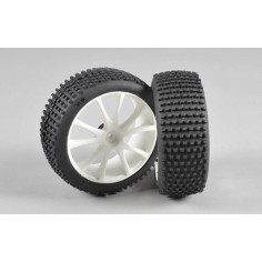 Mini Pin EVO M tires, glued, white, 2pcs.