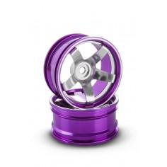 Rim CNC Aluminium alloy double 5 spoke, offset 6 mm, purple (2 pcs)