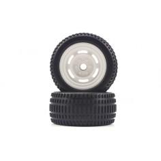 Truggy White Front Tires&Rims 2P