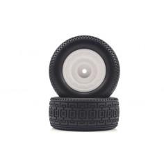 Short Course White Rear Tires&Rims 2P