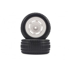 Truggy White Rear Tires&Rims 2P