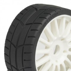 Challenge 1 / 8 Pre glued RALLY Tyres on white wheels