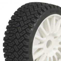1 / 8 Rallycross Tyres pre glued on white multispoke wheels