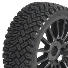 1 / 8 Rallycross Tyres pre glued on black multispoke wheels