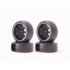 Sweep QTS Low Profile Tires 32deg w/BBS Black Spoke Wheels Pre-glued (4pcs·5colors rings)