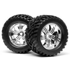 Mounted goliath tyre (178x97mm) tremor wheel chrome/savage