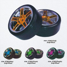 HSP 1:10 Drift ratai su padangomis (chromas), 2vnt.