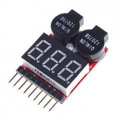 G.T. Power 1-8 celių Li-Po įtampos indikatorius su garsiniu įspėjimu
