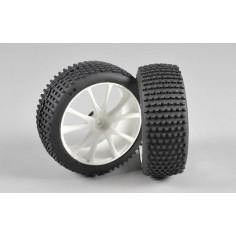 Mini Pin EVO M tires, glued, white, 2pcs.