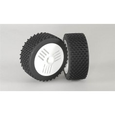 Mini block S / OR tires, glued, white, 2pcs.