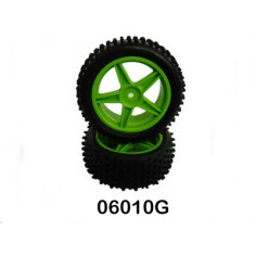 Front Wheel Complete- Buggy 1:10, 2pcs (Green)