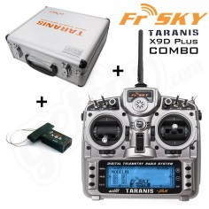 FrSky TARANIS X9D PLUS 2.4GHz (Mode 2) + X8R imtuvas + lagaminas