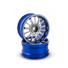 Rim CNC Aluminium alloy double 14 spoke, offset 6 mm, blue (2 pcs)