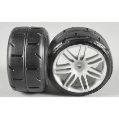 Rear tires type A (soft) glued on white rims
