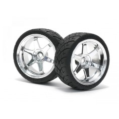 Mounted X-Pattern Tire D compoud on TE37 0mm offset Chrom 2pcs