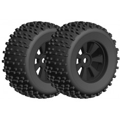 Off-Road 1/8 Monster Truck Tires - Gripper - Glued on Black Rims - 1 pair
